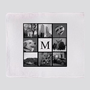 Monogrammed Photo Block Throw Blanket