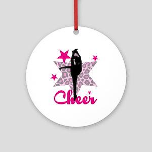 Pink Cheerleader Ornament (round)