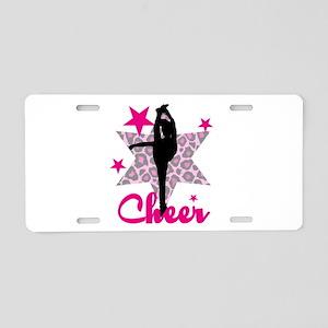 Pink Cheerleader Aluminum License Plate