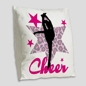 Pink Cheerleader Burlap Throw Pillow