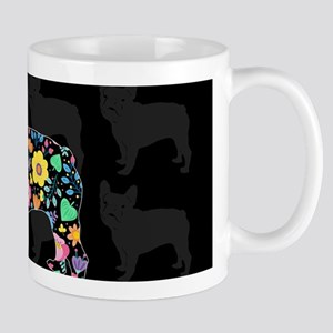 floral french bulldog art Mugs