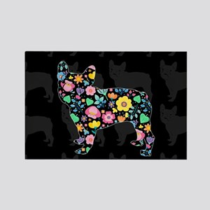 floral french bulldog art Magnets