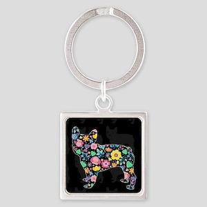 floral french bulldog art Keychains