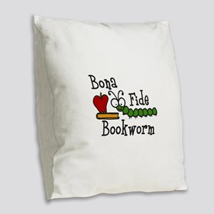 Bonafide Bookworm Burlap Throw Pillow