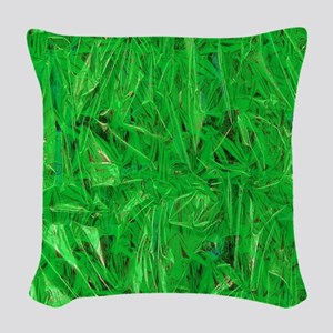 Green Grass  Woven Throw Pillow