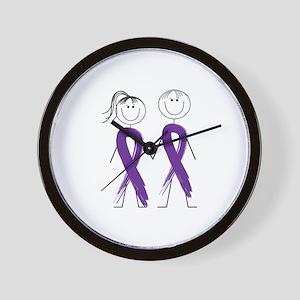 Alzheimers Ribbon Body Wall Clock