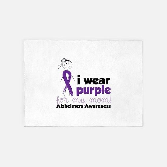 I Wear Purple For My Mom!Alzheimers Awarness 5'x7'