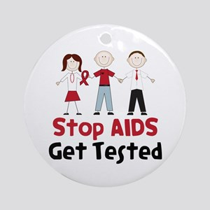 Stop Aids Get Tested Ornament (Round)