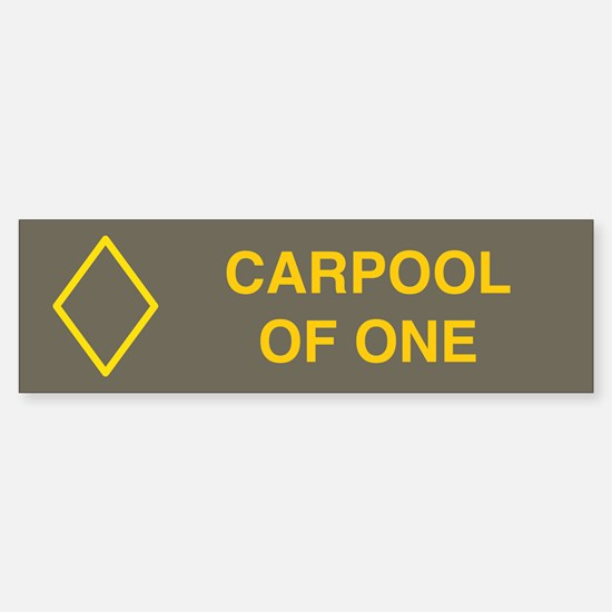 Carpool of one bumper sticker