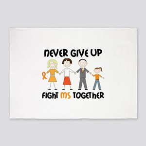 Never Give Up Fight MS Together 5'x7'Area Rug