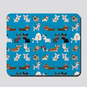 Dog Breeds on Blue Background Mousepad