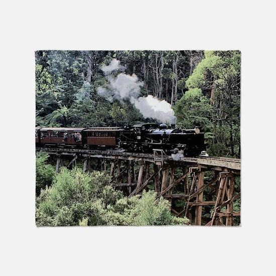 Old Narrow Gauge Steam Train on Tres Throw Blanket