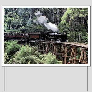 Old Narrow Gauge Steam Train on Trestle  Yard Sign