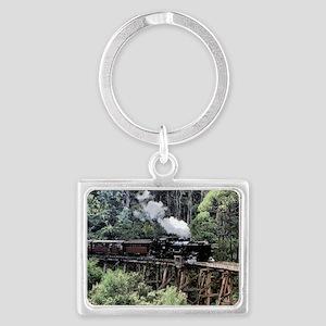 Old Narrow Gauge Steam Train on Landscape Keychain
