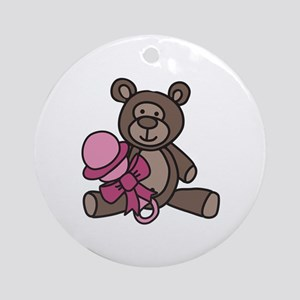 Bear With Rattle Ornament (Round)