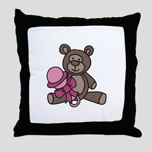 Bear With Rattle Throw Pillow