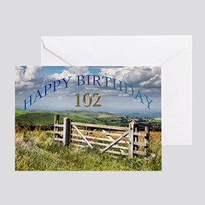 102nd Birthday, a landscape with a gate Greeting C