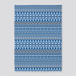 Aztec Influence Blues Black White 5'x7'area Rug