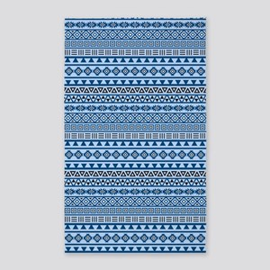 Aztec Influence Blues Black White 3'x5' Area Rug