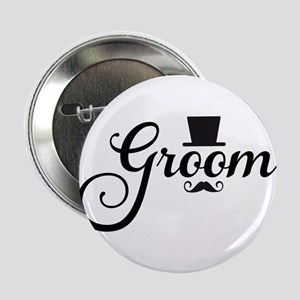 "Groom with hat and mustache 2.25"" Button"