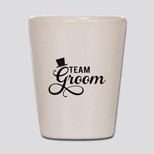 Team Groom with hat Shot Glass