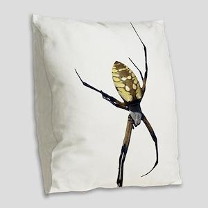 Yellow Banana Spider Burlap Throw Pillow