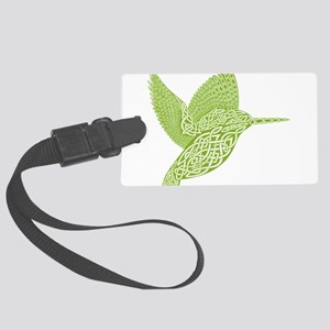 celtic knot kingfisher green Large Luggage Tag