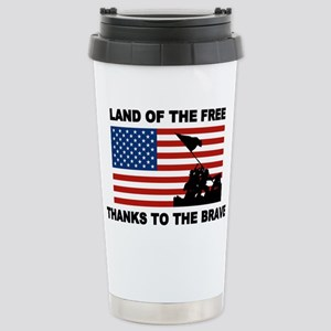 Land Of The Free Thanks To The Brave Travel Mug