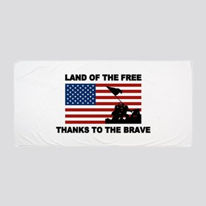 Land Of The Free Thanks To The Brave Beach Towel