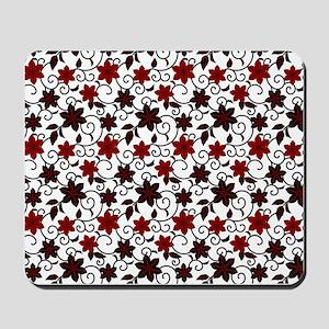 Oriental red black and white sakura pattern Mousep