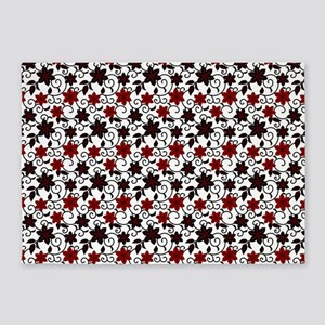 Oriental red black and white sakura pattern 5'x7'A