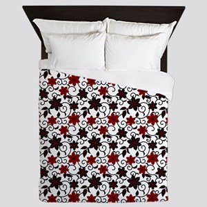 Oriental red black and white sakura pattern Queen