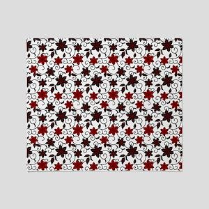 Oriental red black and white sakura pattern Throw