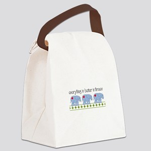 Everything Is Better In Threes Canvas Lunch Bag