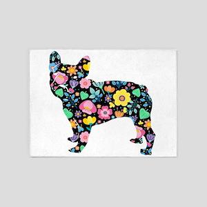 floral french bulldog art 5'x7'Area Rug