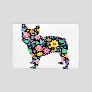 floral french bulldog art 4' x 6' Rug