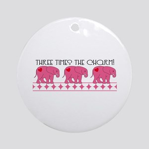 Three Times The Charm! Ornament (Round)