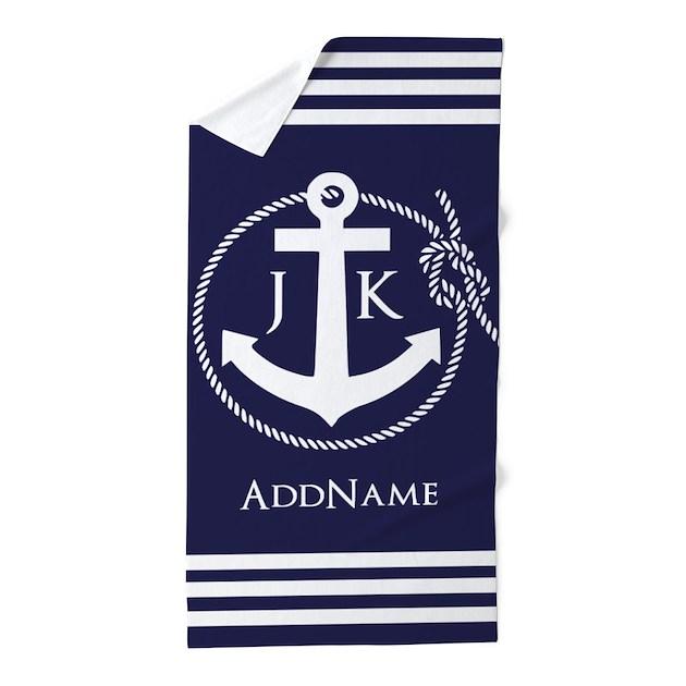 Nautical Bathroom Decor On Sale: Nautical Rope And Anchor Monogram Beach Towel By