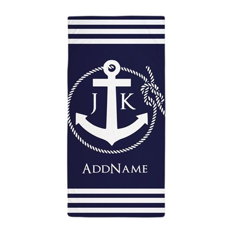 nautical rope and anchor monogram beach towel by customgifts123