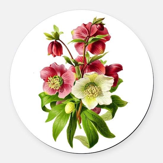 Hellebore Bouquet Round Car Magnet