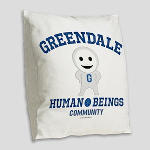 Greendale Human Beings Burlap Throw Pillow