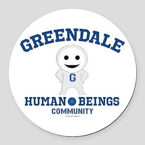 Greendale Human Beings Round Car Magnet