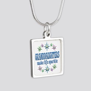 Granddaughters Sparkle Silver Square Necklace