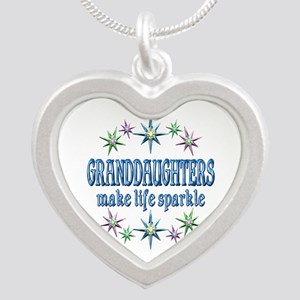 Granddaughters Sparkle Silver Heart Necklace