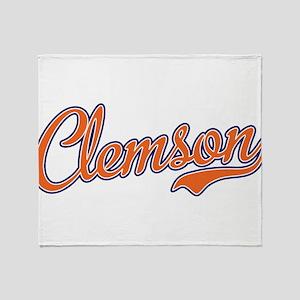 Clemson Script Font Throw Blanket
