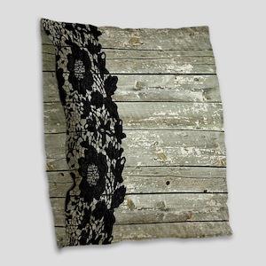 grey barn wood lace western country Burlap Throw P