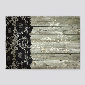 grey barn wood lace western country 5'x7'Area Rug