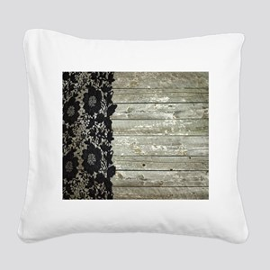 grey barn wood lace western country Square Canvas