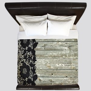 grey barn wood lace western country King Duvet