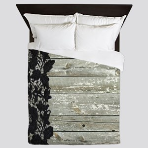 grey barn wood lace western country Queen Duvet